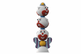 1110 8935 Clowns Totem Three Headed Va