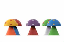 1110 9702 Surprise Fountain Mushrooms 5Pcs Va