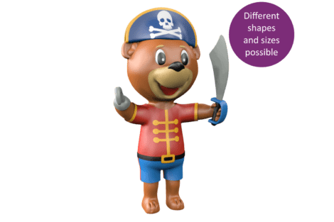1140 9631 Pirate mascot bear button