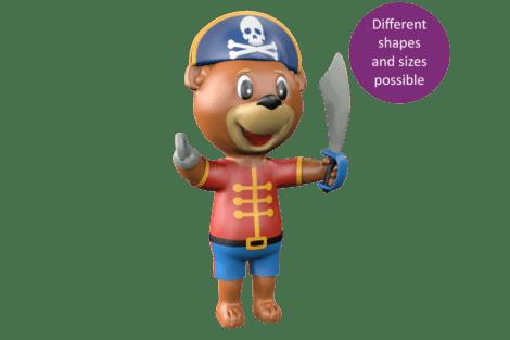 1140 9631 Pirate mascot bear button