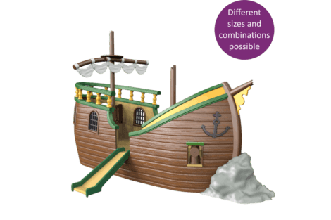 1540 4002 Pirate ship wreck container model button
