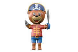 1140 9631 Pirate mascot bear va